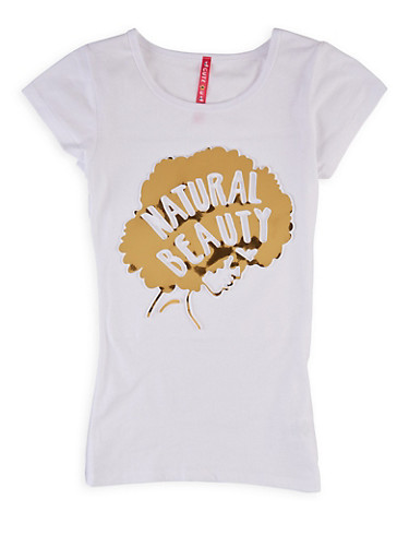 Girls 7-16 Natural Beauty 3D Graphic Tee,WHITE,large