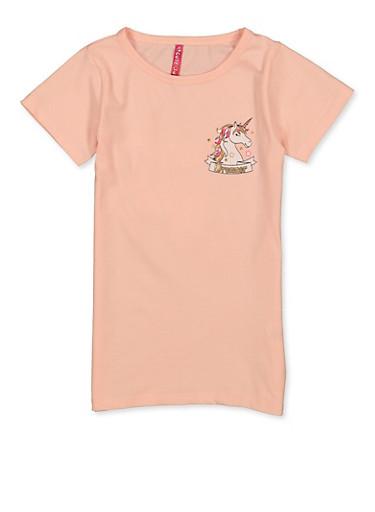 Girls 7-16 Dreamer Unicorn Tee,BLUSH,large