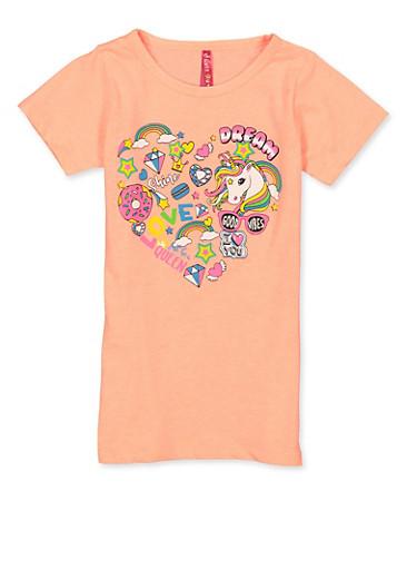 Girls 7-16 Unicorn Graphic Short Sleeve Tee,CORAL,large