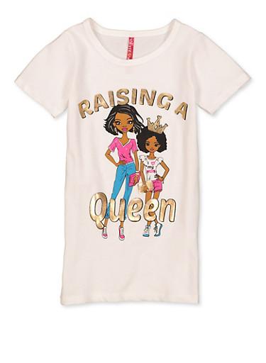 Girls 7-16 Raising A Queen Tee,WHITE,large