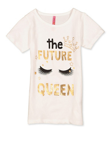 Girls 7-16 The Future Queen Tee,WHITE,large