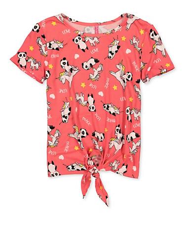 Girls 7-16 Unicorn Panda Tie Front Tee,FUCHSIA,large