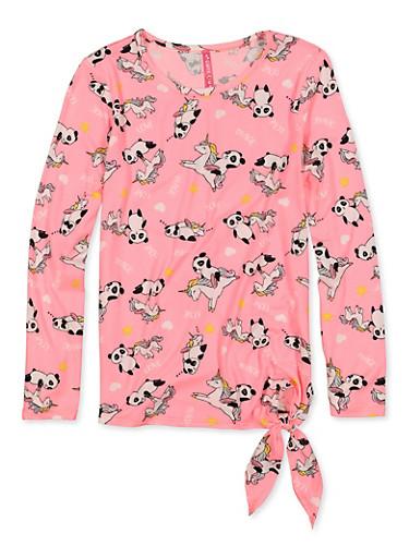 Girls 7-16 Panda Unicorn Print Tie Front Tee,NEON PINK,large