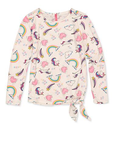 Girls 7-16 Unicorn Rainbow Long Sleeve Tee,IVORY,large