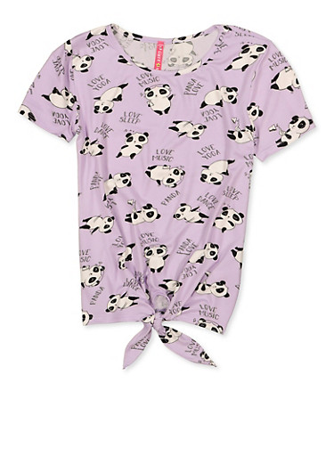 Girls 7-16 Panda Print Knot Front Tee,LAVENDER,large