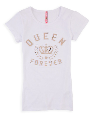 Girls 7-16 3D Queen Forever Graphic Tee,MAUVE,large
