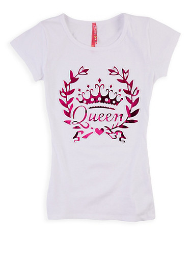 Girls 7-16 3D Queen Foil Graphic Tee,WHITE,large