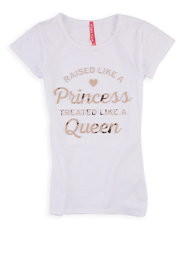 Girls 7-16 Raised Like A Princess 3D Graphic Tee,WHITE,large