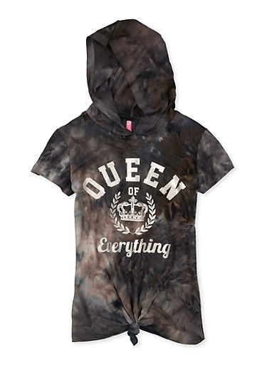 Girls 7-16 Hooded Queen of Everything Knot Front Graphic Tee,CHARCOAL,large