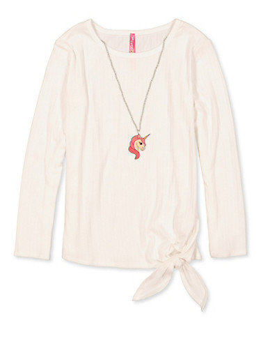 Girls 7-16 Ribbed Tie Front Top with Necklace,IVORY,large