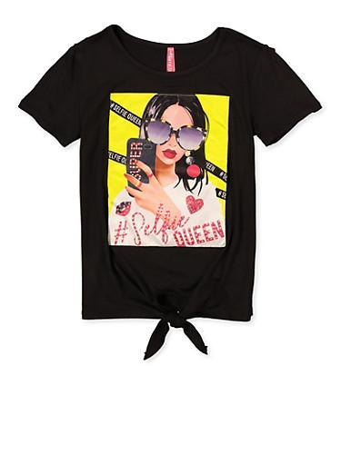 Girls Selfie Queen Tie Front Patch Tee,BLACK,large