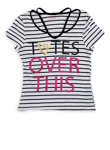 Girls 7-16 Glitter Graphic Striped T Shirt,BLACK/WHITE,large