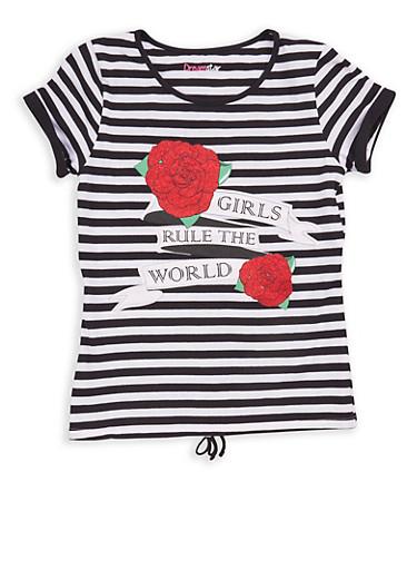 Girls 7-16 Striped Graphic T Shirt,BLACK,large