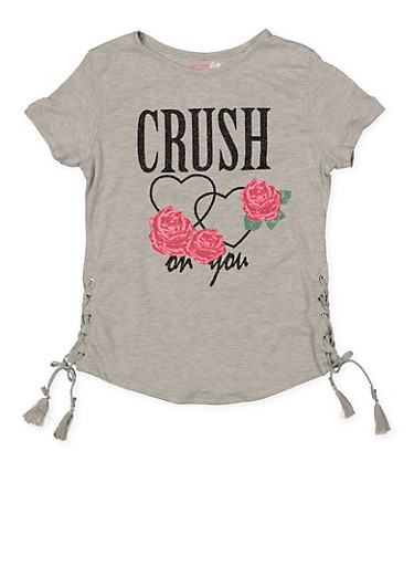 Girls 7-16 Glitter Graphic Lace Up Tee | 1635073990023,HEATHER,large