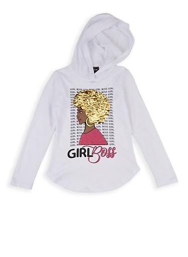 Girls 7-16 Girl Boss Reversible Sequin Hooded Top,WHITE,large