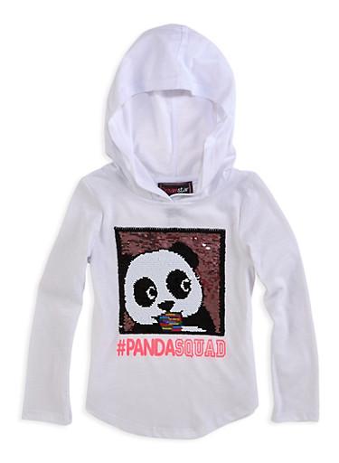 Girls 7-16 Panda Squad Reversible Sequin Top,WHITE,large