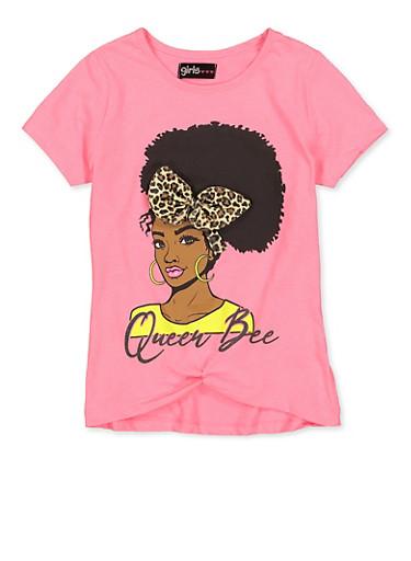 Girls 7-16 Queen Bee Leopard Bow Tee,NEON PINK,large