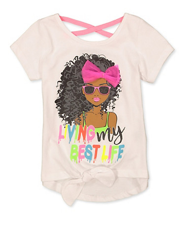 Girls 7-16 Living My Best Life 3D Bow Tee,WHITE,large