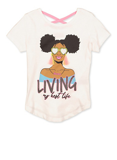 Girls 7-16 Living My Best Life Tee,WHITE,large