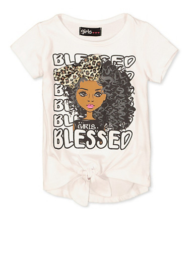 Girls 7-16 Blessed Graphic 3D Bow Tee,WHITE,large