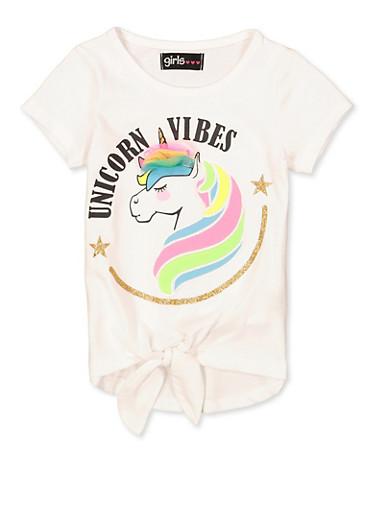 Girls 7-16 Unicorn Vibes 3D Bow Tee,WHITE,large
