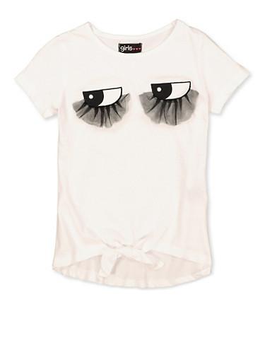 Girls 7-16 3D Mesh Eyelash Tee,WHITE,large