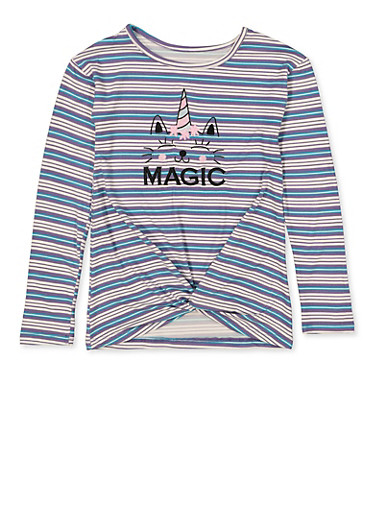Girls 7-16 Magic Embroidered Striped Top,LAVENDER,large