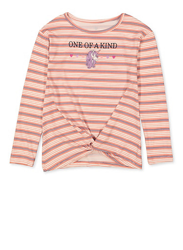 Girls 7-16 One of a Kind Embroidered Top,BLUSH,large