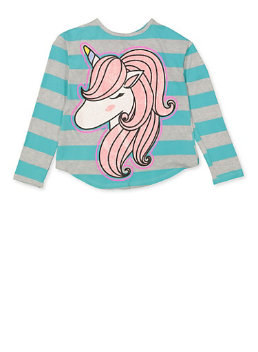 Girls 7-16 Striped Unicorn Tie Back Top,TURQUOISE,large