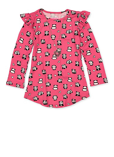 Girls 7-16 Panda Print Top with Necklace,FUCHSIA,large