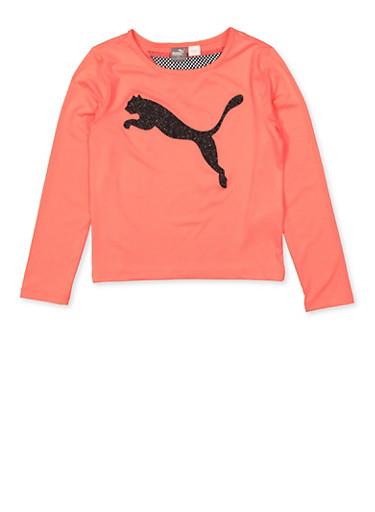 Girls 7-16 Puma Mesh Detail Top,PINK,large