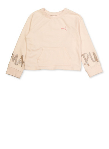 Girls 7-16 Puma Glitter Sleeve Graphic Top,WHITE,large