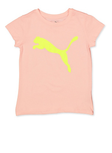 Girls 7-16 Puma Neon Graphic Tee,PINK,large