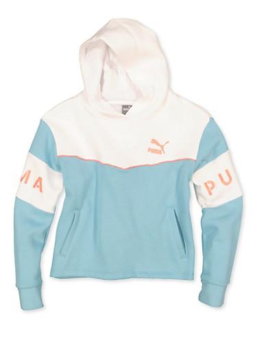 Girls 7-16 Puma Fleece Lined Pullover Sweatshirt,BLUE,large