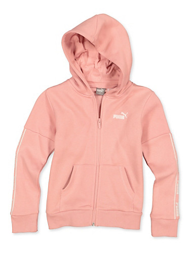 Girls 7-16 Puma Zip Front Sweatshirt,PINK,large