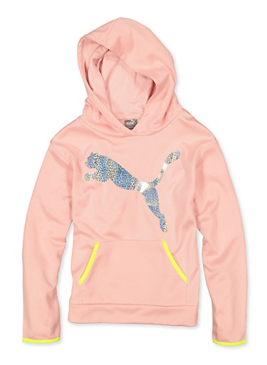 Girls 7-16 Puma Fleece Lined Sweatshirt,PINK,large