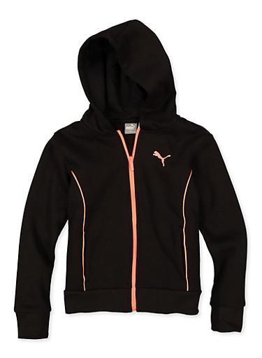 Girls 7-16 Puma Contrast Trim Sweatshirt,BLACK,large