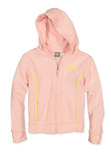 Girls 7-16 Puma Contrast Trim Zip Sweatshirt,PINK,large
