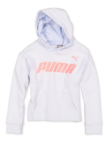 Girls 7-16 Puma Hooded Pullover Sweatshirt,GRAY,large