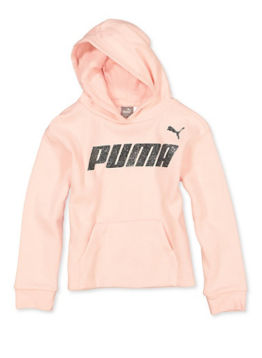 Girls 7-16 Puma Fleece Lined Hooded Sweatshirt,PINK,large