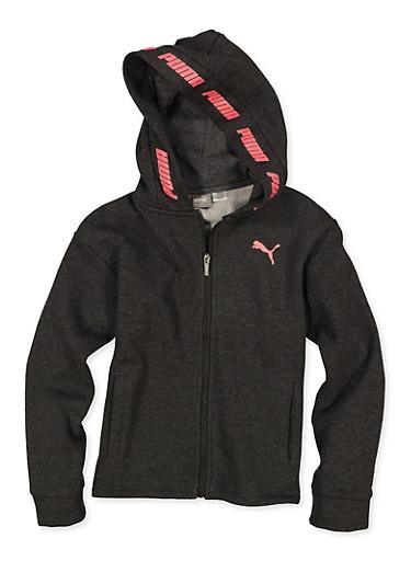 Girls 7-16 Puma Logo Hooded Zip Sweatshirt,GRAY,large