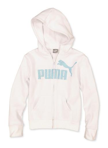 Girls 7-16 Puma Glitter Zip Sweatshirt,WHITE,large
