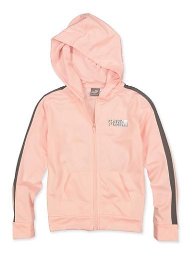 Girls 7-16 Puma Contrast Trim Active Sweatshirt,PINK,large