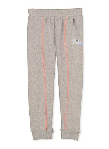 Girls 7-16 Puma Fleece Lined Contrast Trim Joggers,GRAY,large