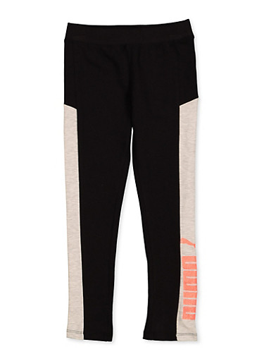 Girls 7-16 Puma Color Block Leggings,BLACK,large