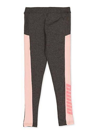 Girls 7-16 Puma Color Block Detail Leggings,GRAY,large