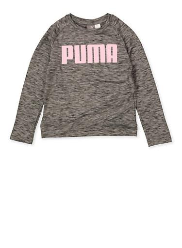 Girls 7-16 Puma Marled Graphic Top,GRAY,large