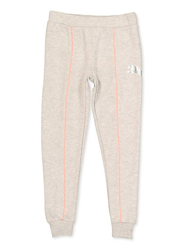Girls 7-16 Puma Contrast Trim Joggers,HEATHER,large