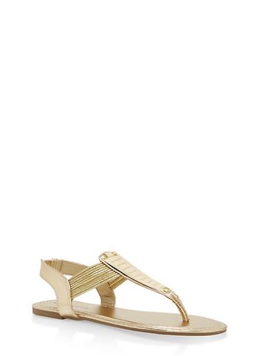 Girls 11-4 Metallic Accent Thong Sandals,GOLD,large