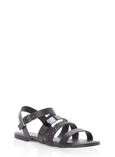Girls 12-4 Glitter Strap Sandals,BLACK,large